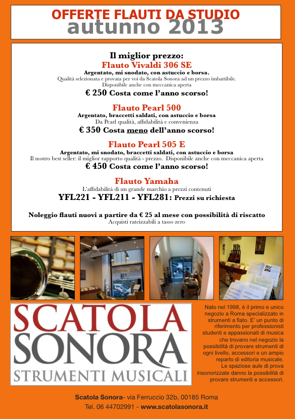 Read more about the article OFFERTA FLAUTI