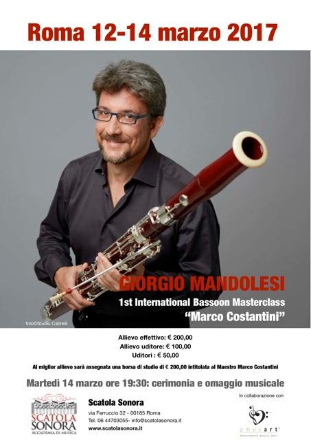 Read more about the article GIORGIO MANDOLESI 1st International Basson Masterclass 12-14 Marzo 2017