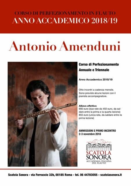 Antonio Amenduni – CORSO DI PERFEZIONAMENTO IN FLAUTO – 2018/19
