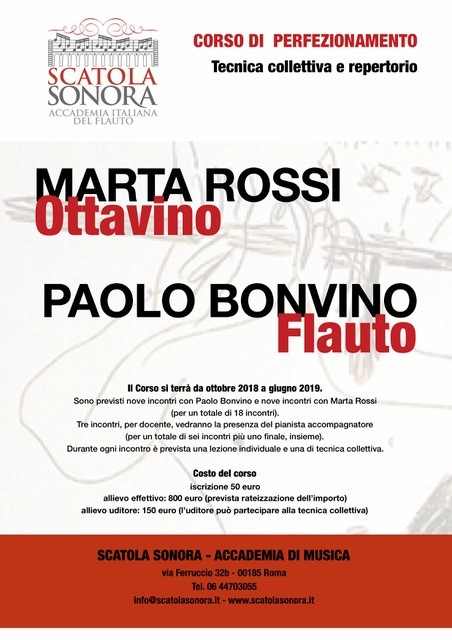 Marta Rossi – Paolo Bovino – CORSO DI PERFEZIONAMENTO TECNICA COLLETTIVA E REPERTORIO – 2018/19