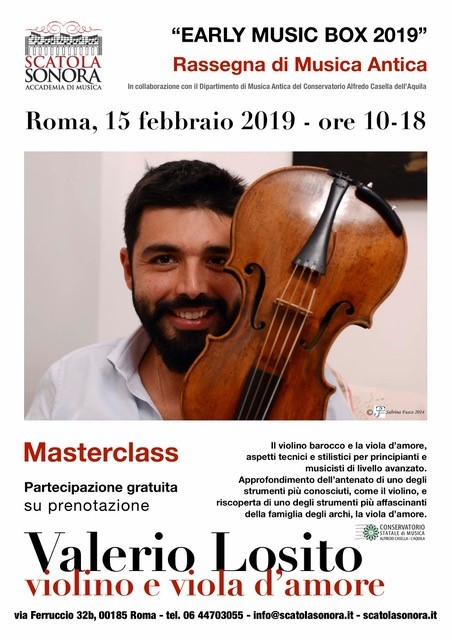 """EARLY MUSIC BOX 2019"" Valerio Losito – Violino e Viola d'amore"