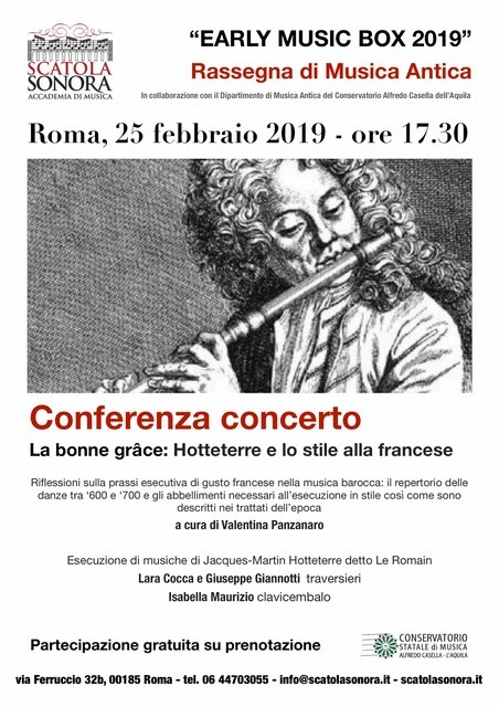 """EARLY MUSIC BOX 2019"" Rassegna di Musica Antica – La bonne grace: Hotteterre e lo stile alla francese"