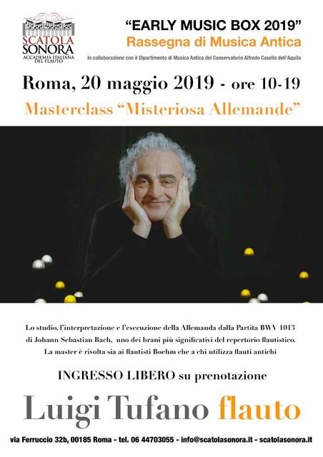 """""""EARLY MUSIC BOX 2019"""" 20 maggio – Masterclass Luigi Tufano – Ingresso libero"""