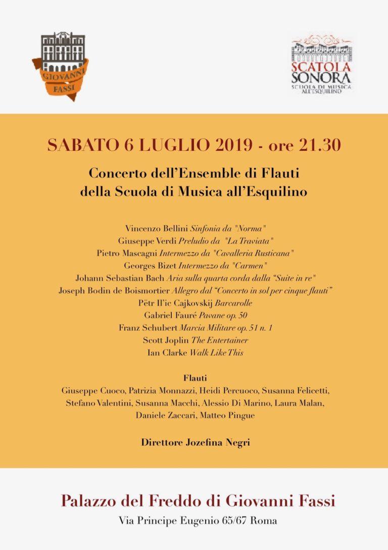 Sabato 6 luglio – Concerto dell'Ensemble di Flauti della Scuola di Musica all'Esquilino