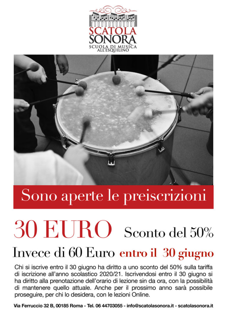 PREISCRIZIONI Sconto del 50% entro il 30 giugno